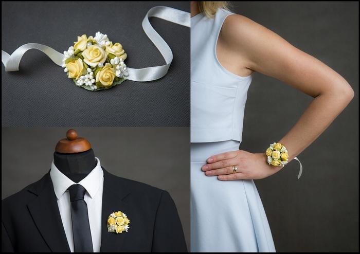 Kvetinové náramky a voničky 1- žltá