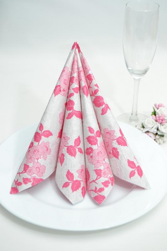 Obrúsky s kvety - ružové