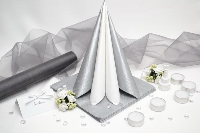 Sada DEKOR pre svadobný stôl - biela/šedá