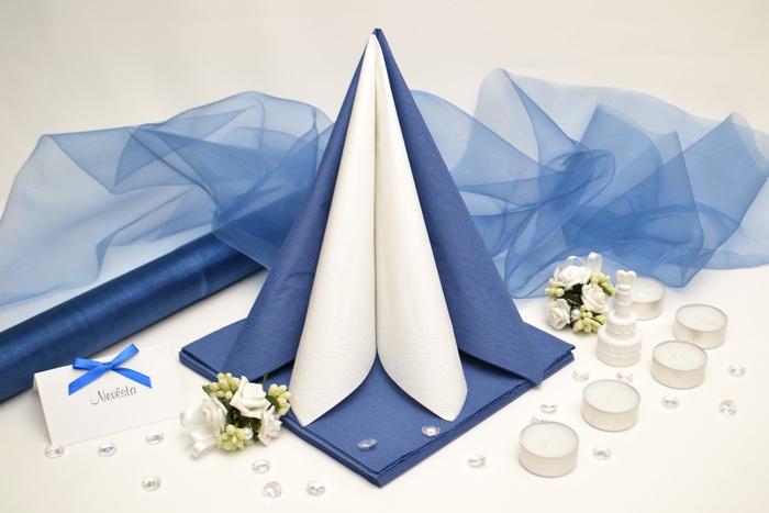 Sada DEKOR pre svadobný stôl - biela/modrá