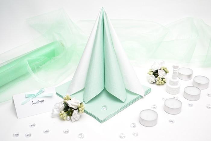 Sada DEKOR pre svadobný stôl - biela/mätová