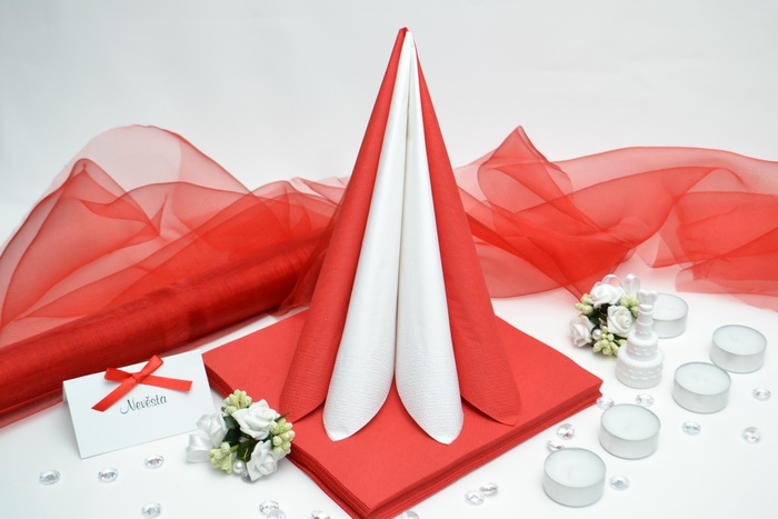 Sada DEKOR pre svadobný stôl - biela/červená