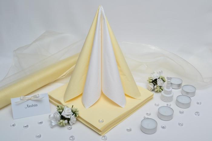 Sada DEKOR pre svadobný stôl - biela/krémová