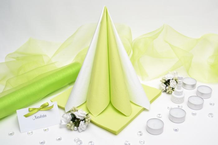 Sada DEKOR pre svadobný stôl - biela/svetlo zelená
