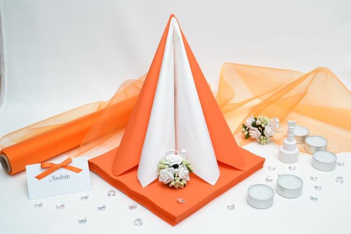 Sada DEKOR pre svadobný stôl - biela/oranžová