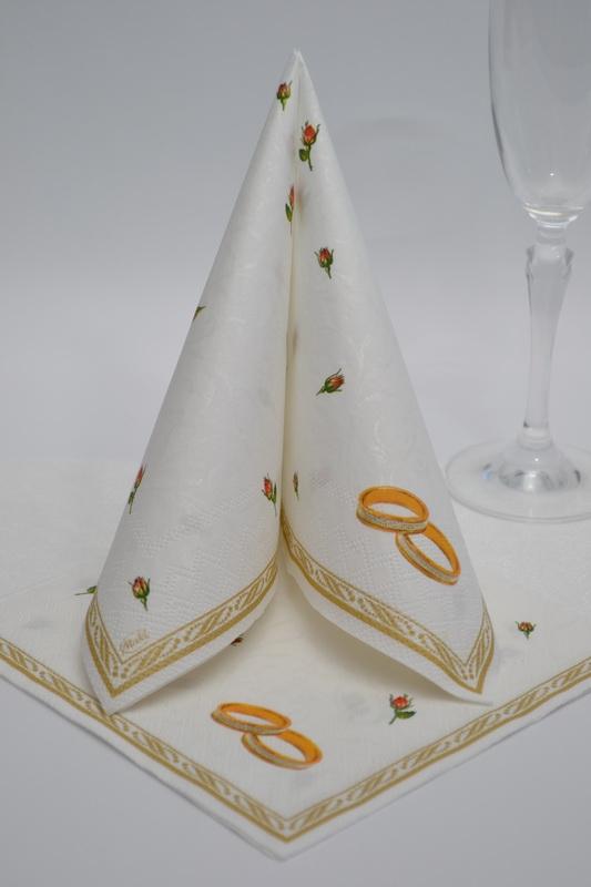 Svadobné obrúsky trojvrstvové PSLSL000102 - biele