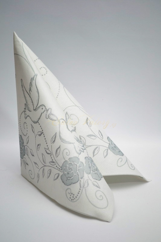 Airlaid obrúsok Mank - strieborné holubice