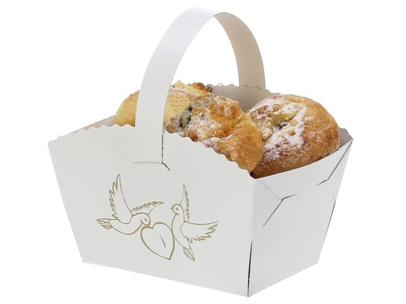 Košíček na koláčiky s uškom s potlačou holubičky