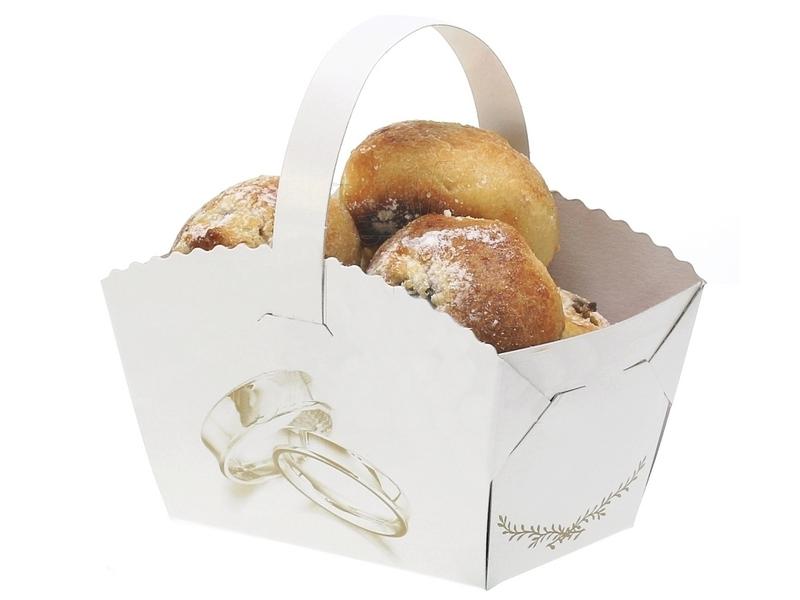 Košíček na koláčiky s uškom s potlačou prstienky