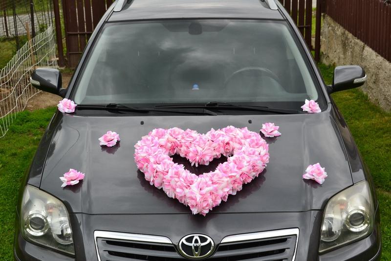 Srdce na auto růžové