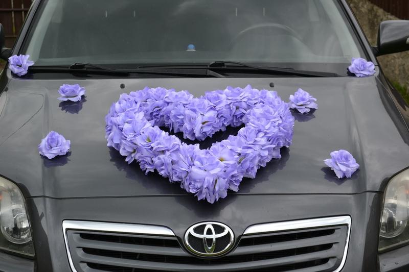 Srdce na auto lila