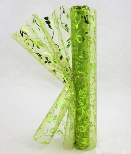 Organza s glitry zelená