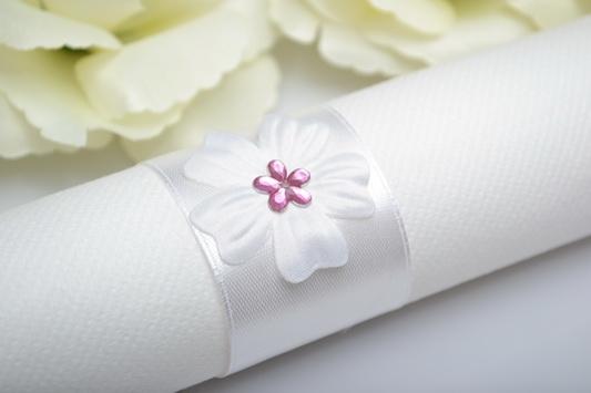 Krůžok na obrůsok kvet- růžová