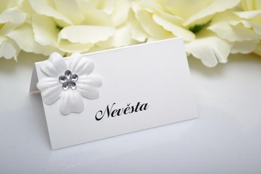 Svadobné menovka kvet - strieborná