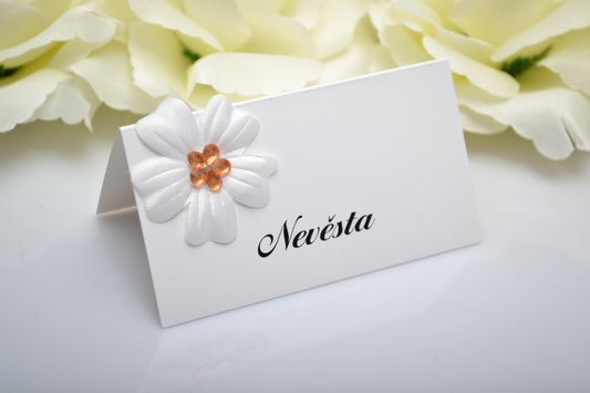 Svadobná menovka kvet - oranžová