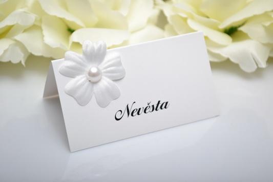 Svadobná menovka kvet - perla