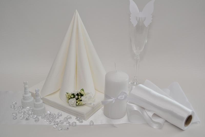 Saténová biela dekoračné sada + ZDARMA bublifuky
