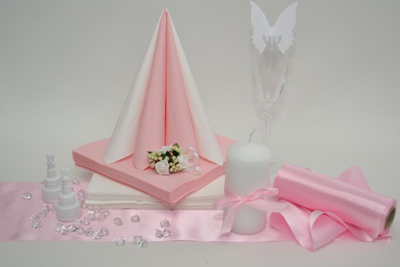 Saténová růžová dekoračná sada + ZDARMA bublifuky