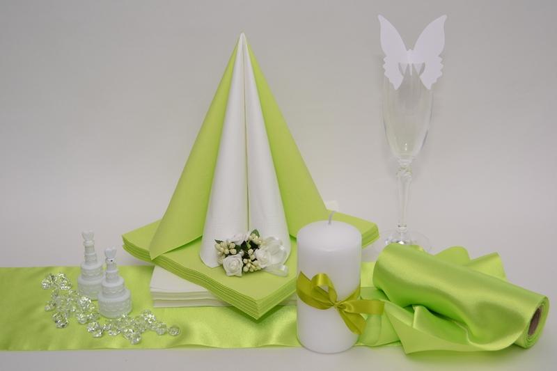 Saténová zelená dekoračná sada + ZDARMA bublifuky