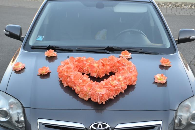 Srdce na auto oranžové