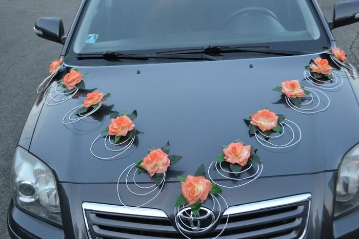 Zostava dekorácií na kapotu auta - oranžová