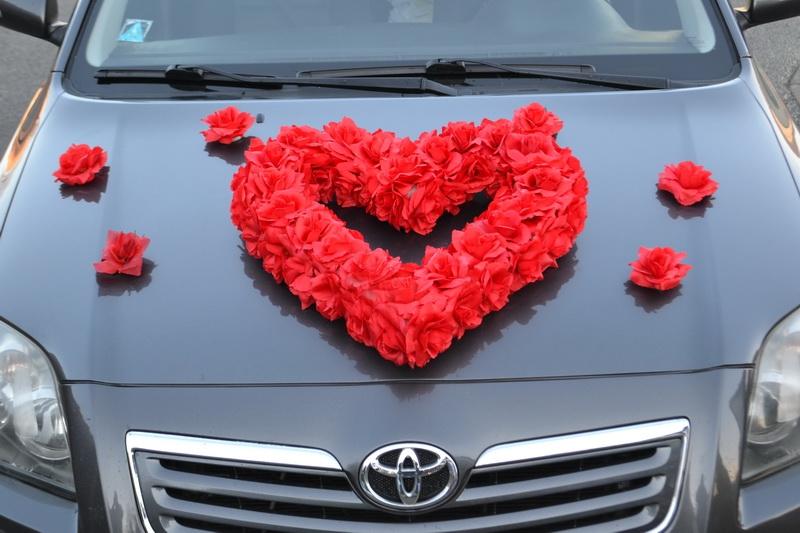 Srdce na auto červené