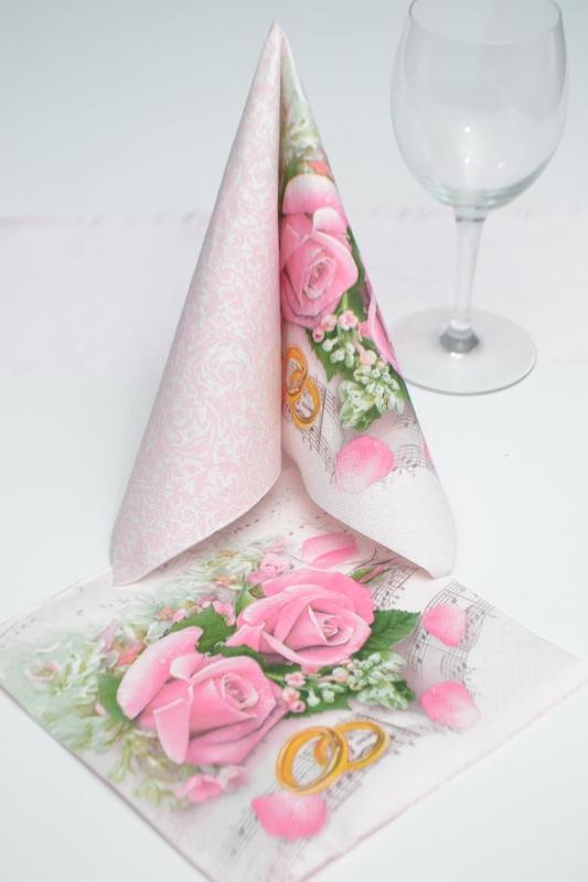 Svadobné obrúsky - ruže a prstene