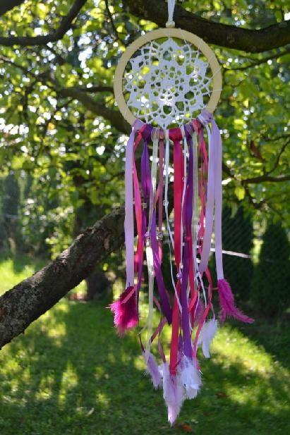 Lapač snov fialovo-fuchsiovej, priemer 18 cm